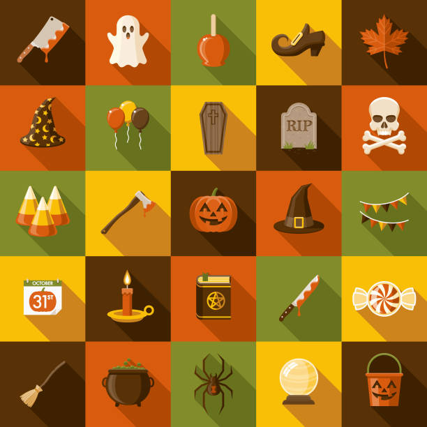 halloween flat design icon set with side shadow - halloween candy stock illustrations