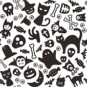 Halloween flat icon design set, squared seamless pattern