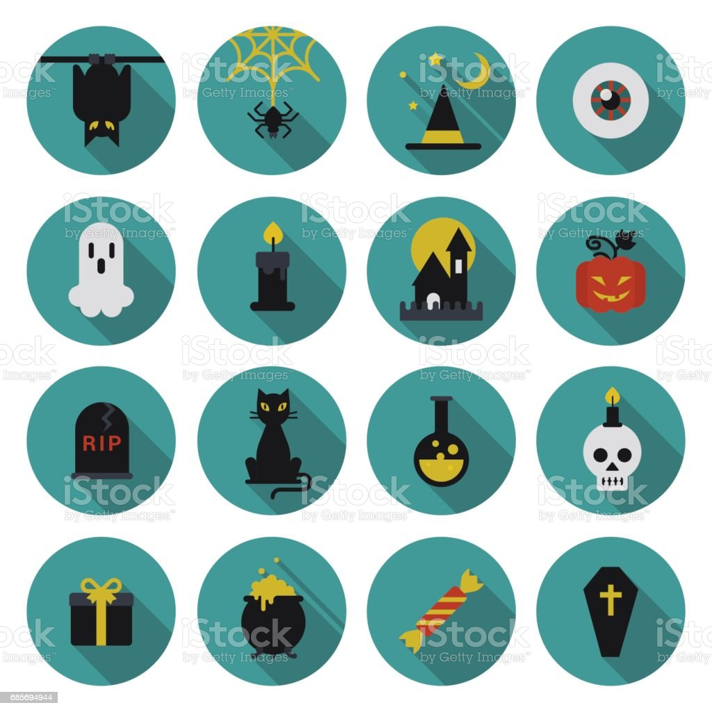 Halloween flat icon set longshadow modern style creative design template collection. Bat spider wizard skull pumpkin cat poison grave eye gift box candle coffin. royalty-free halloween flat icon set longshadow modern style creative design template collection bat spider wizard skull pumpkin cat poison grave eye gift box candle coffin stock vector art & more images of belize