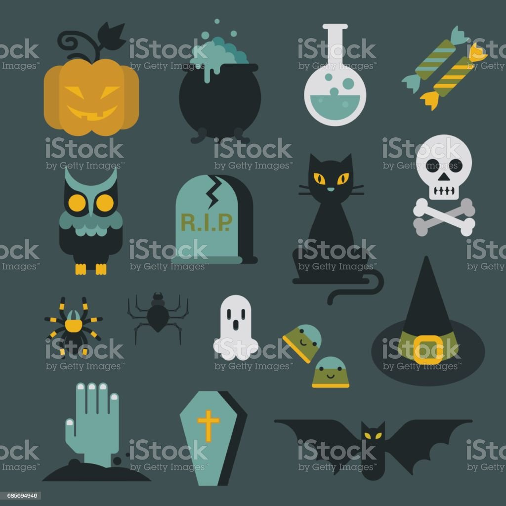 Halloween flat icon set modern style creative design template collection. Bat spider wizard skull pumpkin cat poison grave eye gift box candle coffin owl. vector art illustration