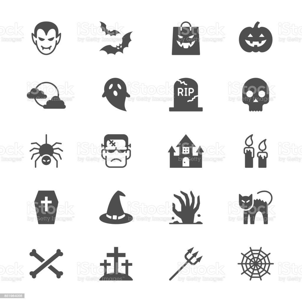 Iconos de Halloween con - ilustración de arte vectorial