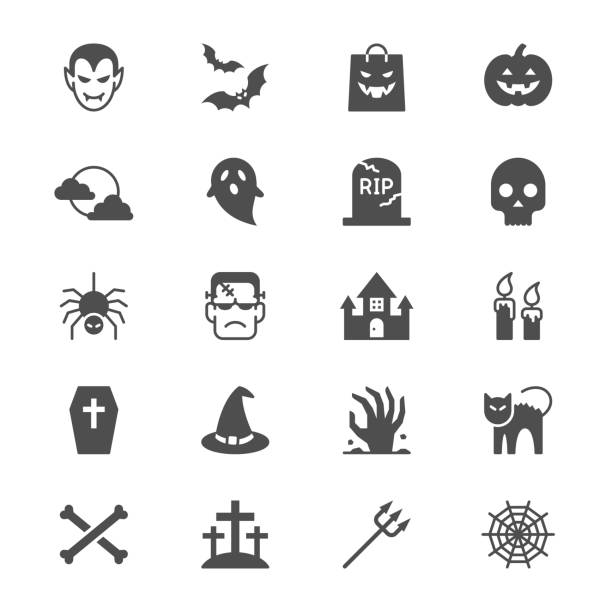halloween flat icons - halloween stock illustrations, clip art, cartoons, & icons