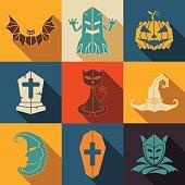 Halloween flat style icon set vector