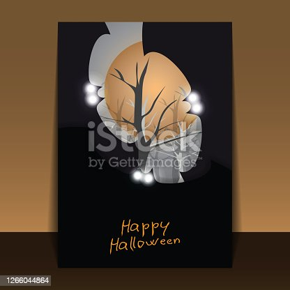 Dark Halloween Background with Flying Bats with Glowing Eyes Covering Full Moon, Bare Trees of the Forest in the Grey Autumn Darkness - Illustration in Editable Vector Format
