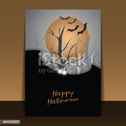 Dark Abstract Halloween Background with Flying Bats with Glowing Eyes Covering the Full Moon, Bare Trees of the Forest in the Grey Autumn Darkness  - Illustration in Editable Vector Format