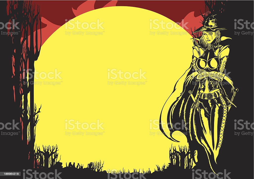 Halloween flyer with Witch royalty-free stock vector art