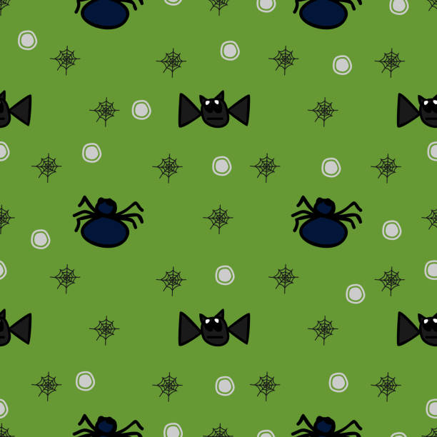 Halloween flying bat and spider cute green seamless pattern Halloween flying bat and spider cute green seamless pattern. vector illustration for fashion textile print and wrapping with festive design. tarantula stock illustrations
