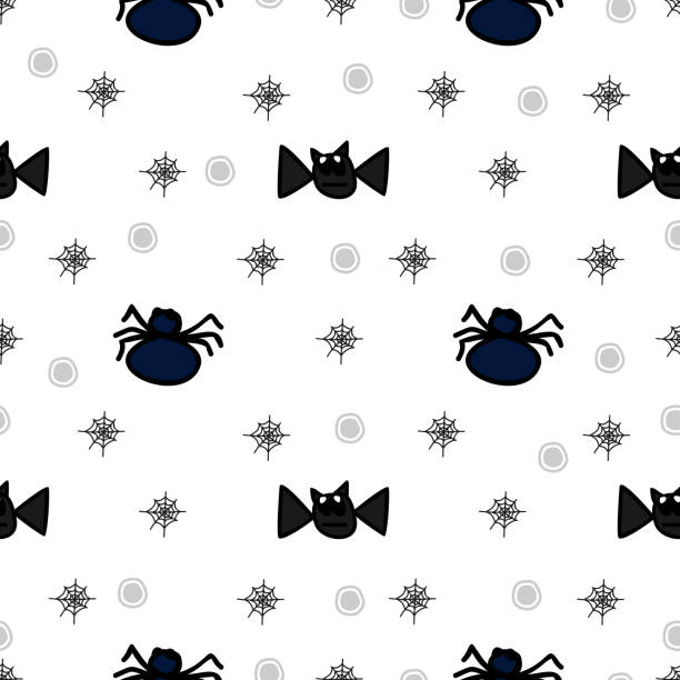 Halloween flying bat and spider cute seamless pattern Halloween flying bat and spider cute seamless pattern. vector illustration for fashion textile print and wrapping with festive design. tarantula stock illustrations