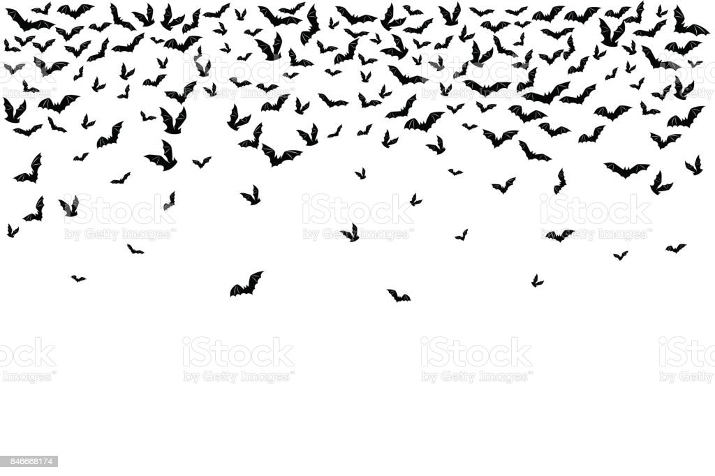 Halloween flying bats. Decoration element from scattered silhoue vector art illustration