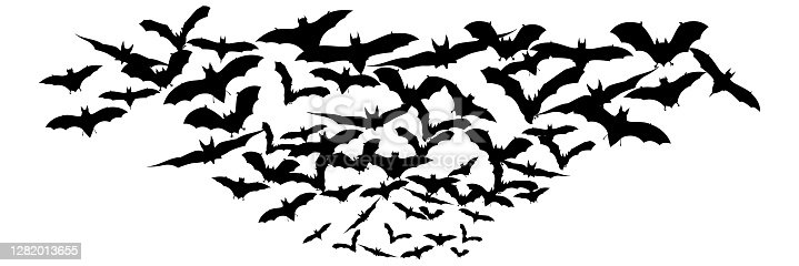 istock Halloween flying bats. Decoration element from scattered silhouettes. Vector illustration 1282013655