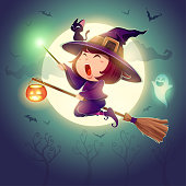 Halloween flying little witch. Girl kid in Halloween costume holds a magic wand. Retro vintage.