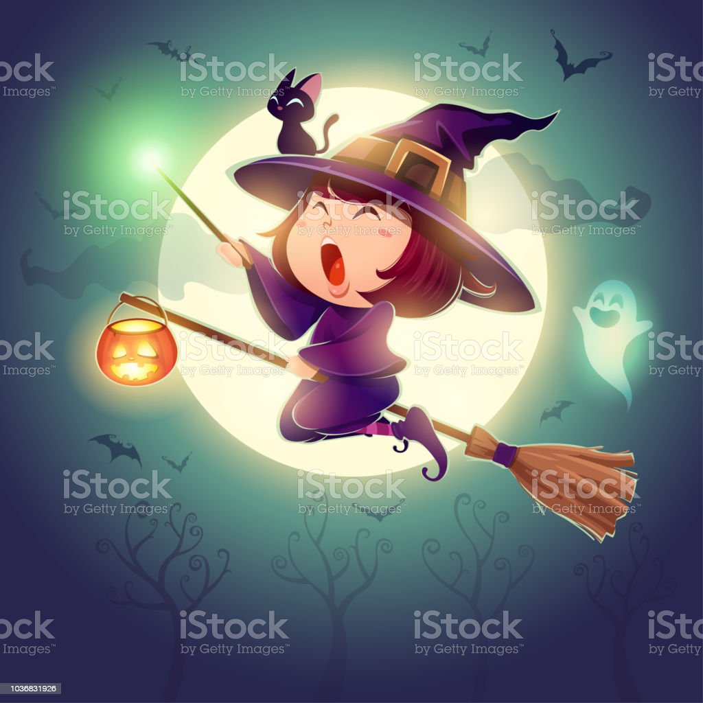 Halloween flying little witch. Girl kid in halloween costume holds a magic wand. Retro vintage. vector art illustration
