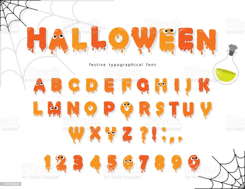 Halloween Font For Kids Pumpkin Orange Letters And Numbers