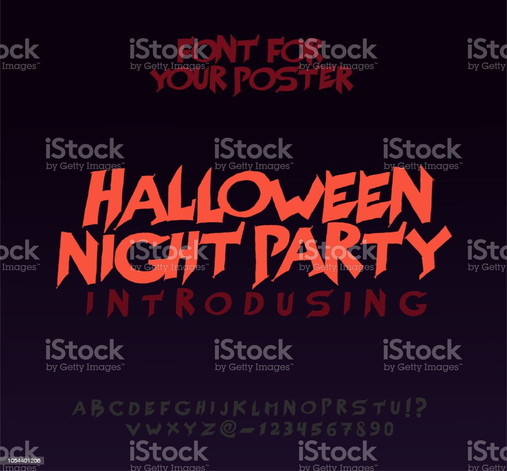 Halloween Font For Poster Scary Frightening Letters Stock