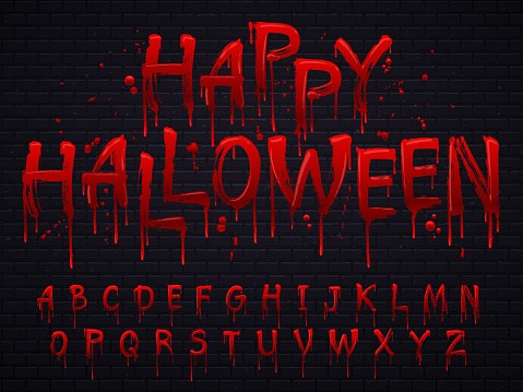 Halloween font. Horror alphabet letters written blood, scary bleed font or wet bloody sign isolated vector illustration