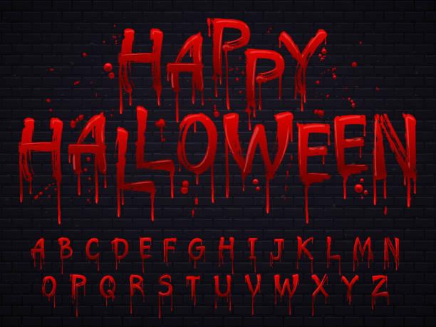 bildbanksillustrationer, clip art samt tecknat material och ikoner med halloween typsnitt. horror alfabetet brev skrivna blod, isolerade skrämmande utfall teckensnitt eller våta blodiga tecken vektorillustration - fasa