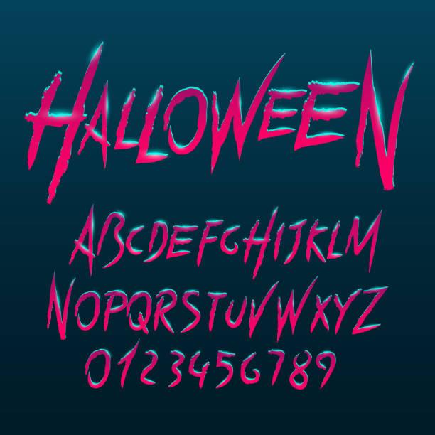 bildbanksillustrationer, clip art samt tecknat material och ikoner med halloween typsnitt, bokstäver och siffror - fasa