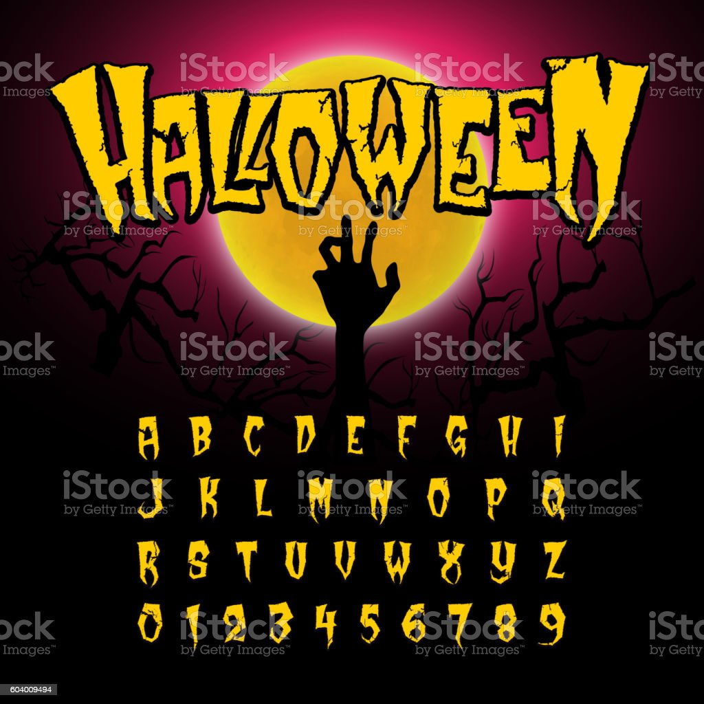 Halloween font, Letters and Numbers vector art illustration