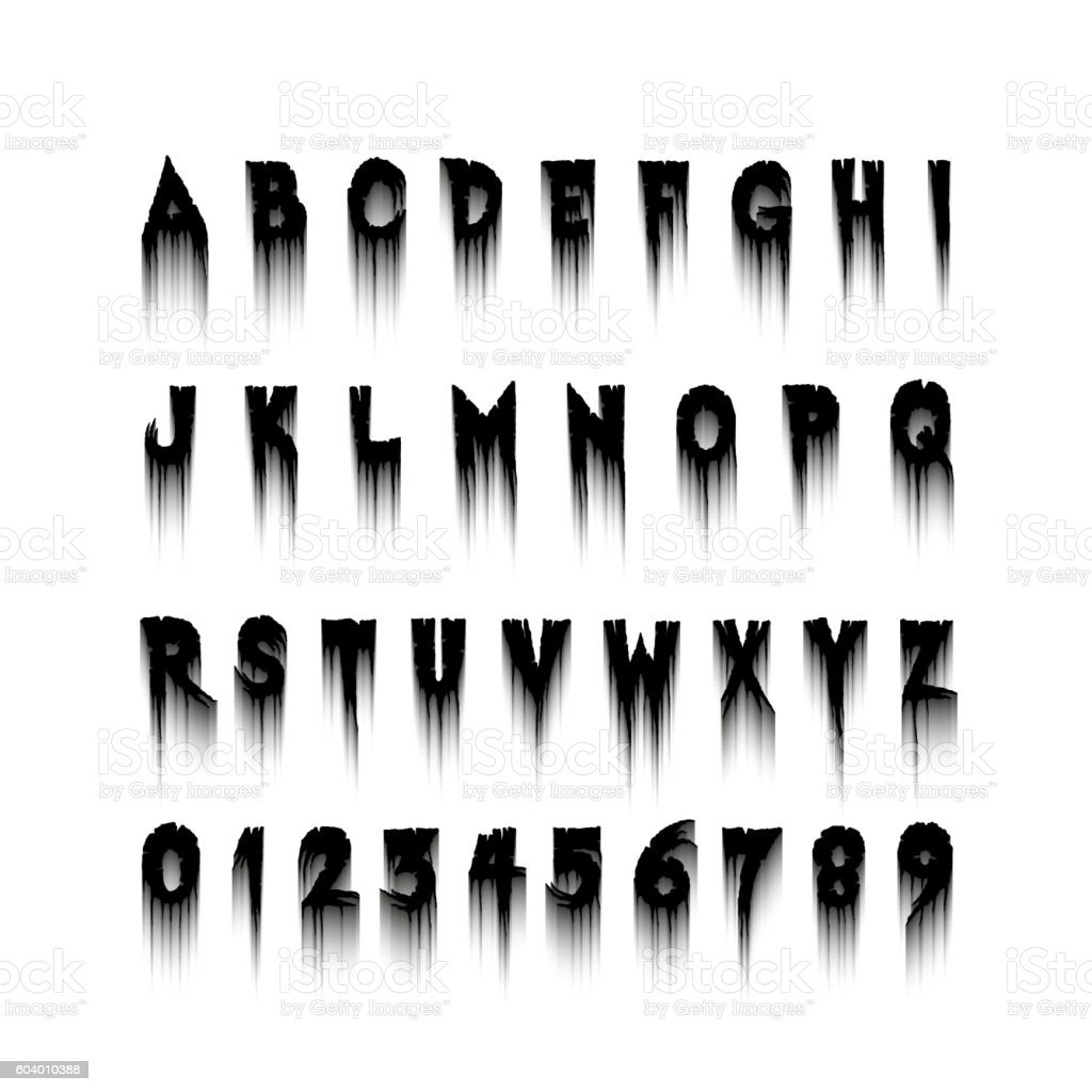 Halloween Font Letters And Numbers Stock Illustration - Download