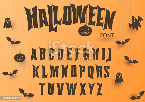 Halloween font, Original Typeface, Scary creepy alphabet, Dirty Letters for holiday party and sale banners, poster with evil pumpkin, ghost and bat. Vector