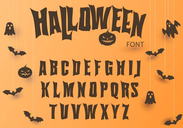 illustrazioni stock, clip art, cartoni animati e icone di tendenza di carattere di halloween, carattere originale, alfabeto spaventoso raccapricciante, lettere sporche, per festa. vettore - halloween