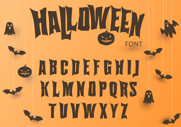 halloween font, original typeface, scary creepy alphabet, dirty letters, for holiday party. vector - halloween stock illustrations