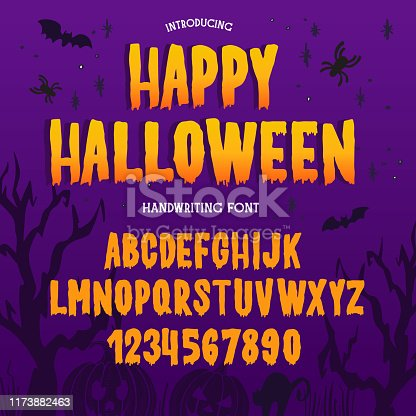 Halloween font. Typography alphabet with colorful spooky and horror illustrations. Type design for holiday party celebration. Design vector banner with hand-drawn lettering.