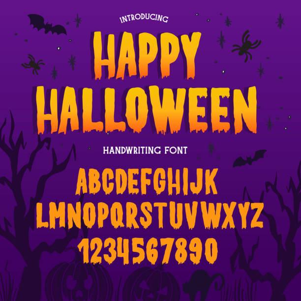 illustrazioni stock, clip art, cartoni animati e icone di tendenza di tipo di carattere di halloween. alfabeto tipografico con illustrazioni spettrali e horror colorate. - halloween
