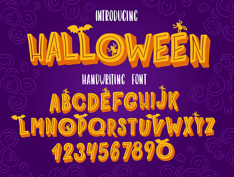 Halloween font. Typography alphabet with colorful spooky and horror illustrations.