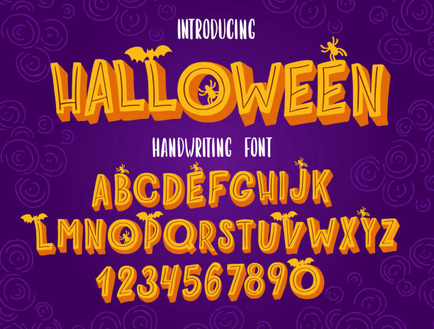 Halloween font. Typography alphabet with colorful spooky and horror illustrations. Halloween font. Typography alphabet with colorful spooky and horror illustrations. Handwritten script for holiday party celebration and crafty design. Vector with hand-drawn lettering. svg stock illustrations
