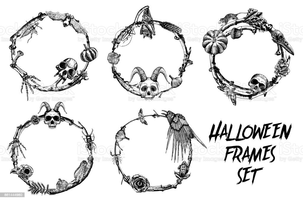 Halloween Frame Banner Set For Calligraphy With Scary Halloween Hand ...