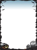 Halloween frame border page with pumpkin skull and tombstones