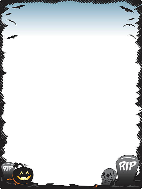Halloween frame border page with pumpkin skull and tombstones vector art illustration