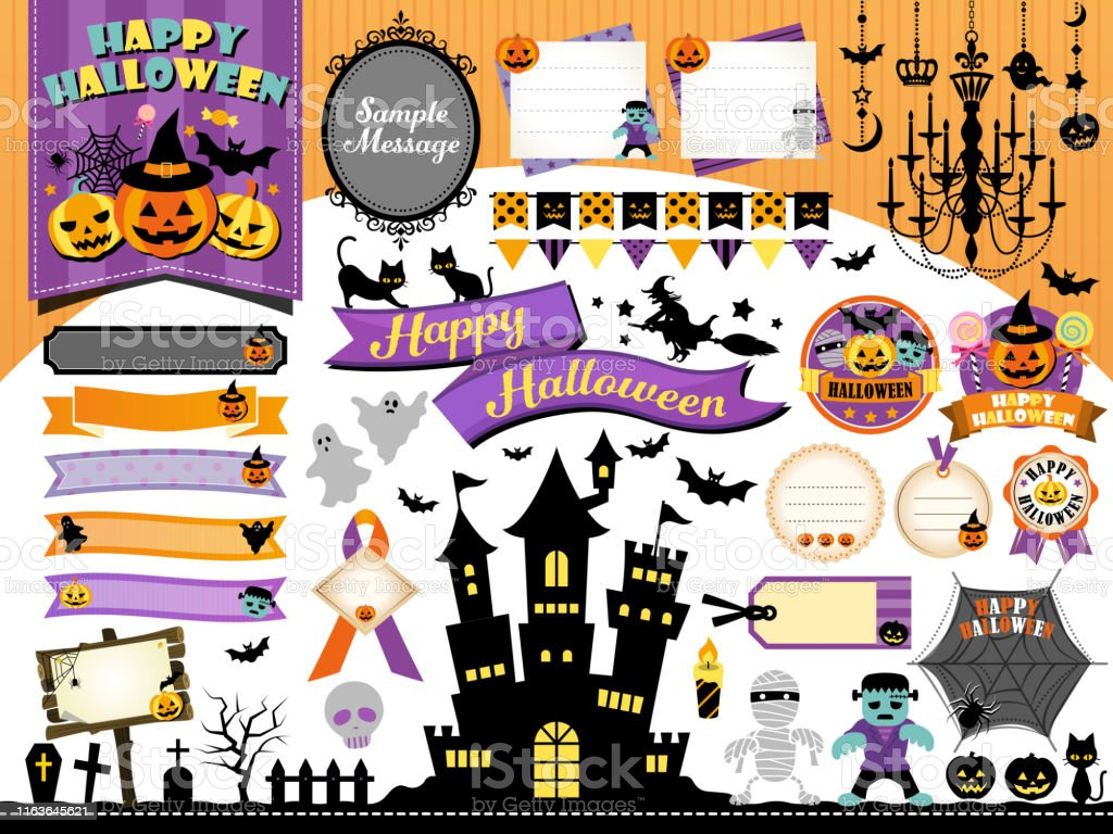 Halloween frame illustration set / pumpkin, castle, monsters - Grafika wektorowa royalty-free (Brokat - Wyposażenie artysty i rzemieślnika)
