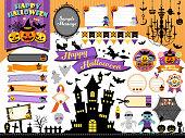Halloween frame illustration set / pumpkin, castle, monsters