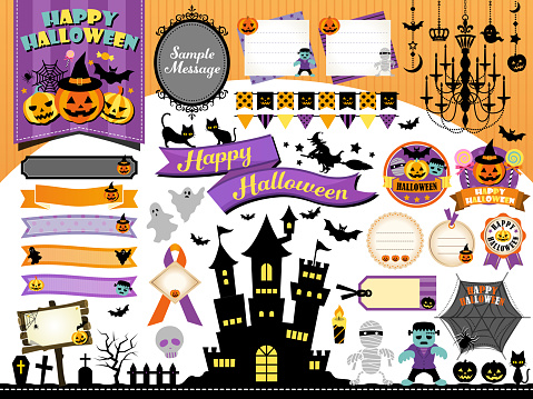 Halloween Frame Illustration Set Pumpkin Castle Monsters - Stockowe grafiki wektorowe i więcej obrazów Brokat - Wyposażenie artysty i rzemieślnika