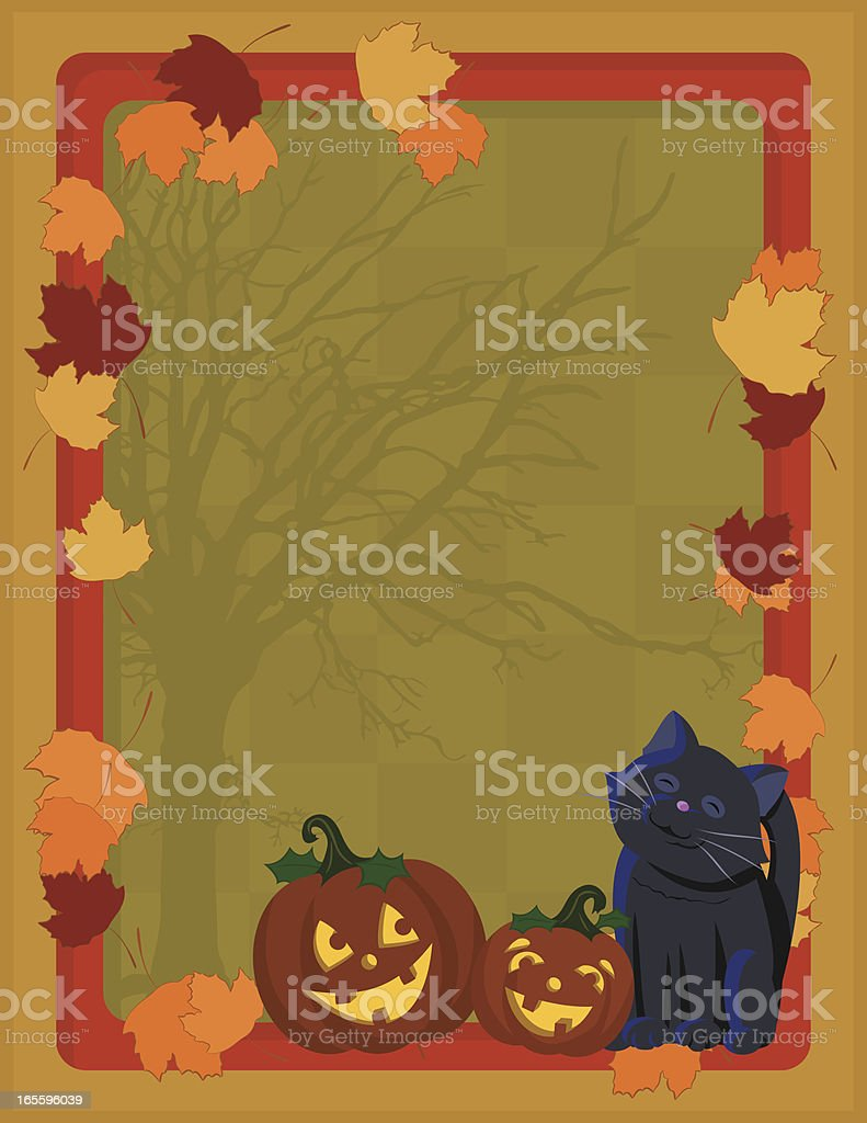Halloween Frame: Jack O' Lanterns, Leaves and Kitty royalty-free halloween frame jack o lanterns leaves and kitty stock vector art & more images of autumn