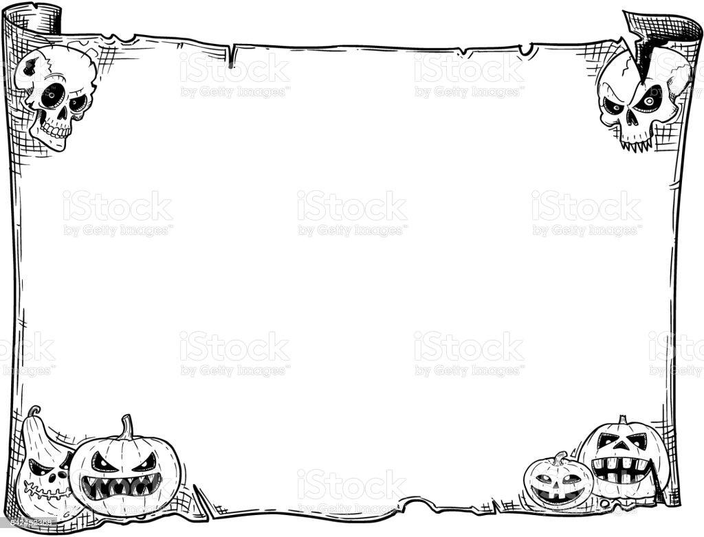 Halloween Rahmen Alte Schriftrolle Blatt Mit Totenköpfen Und ...