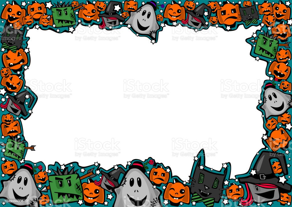 halloween frame with witches zombies ghosts cats and pumpkins stock