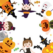 It is an illustration of a Halloween frame