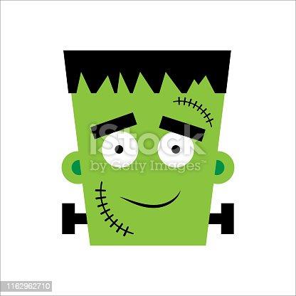 istock Halloween Frankenstein Vector illustration. Happy Frankenstein Day. Illustration for kids, card Halloween, print. 1162962710