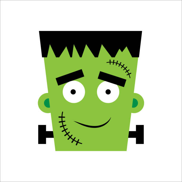 halloween frankenstein vektor illustration. glücklicher frankenstein-tag. illustration für kinder, karte halloween, druck. - frankenstein stock-grafiken, -clipart, -cartoons und -symbole