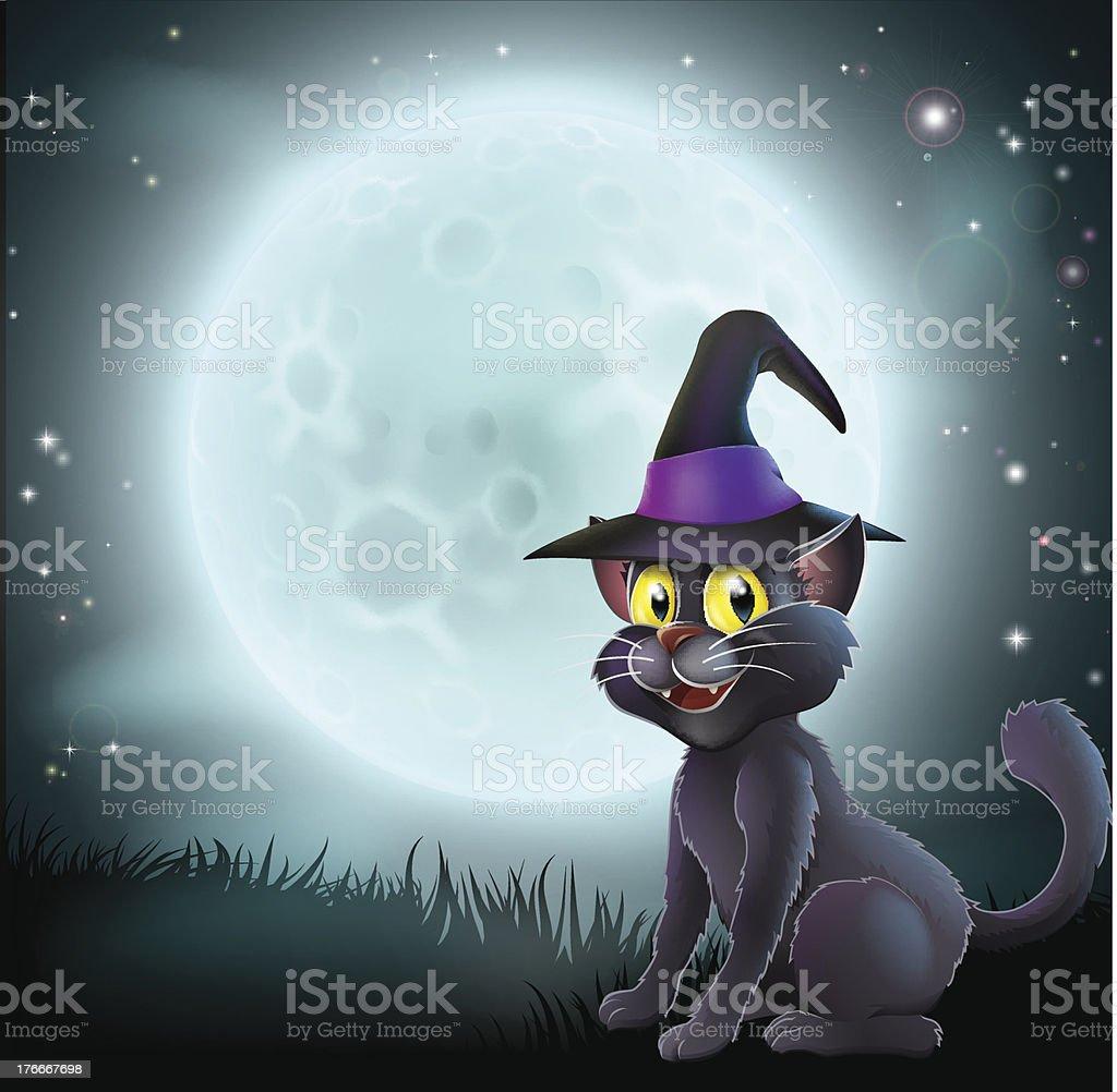 Halloween luna llena de brujas cat ilustración de halloween luna llena de brujas cat y más banco de imágenes de animal libre de derechos