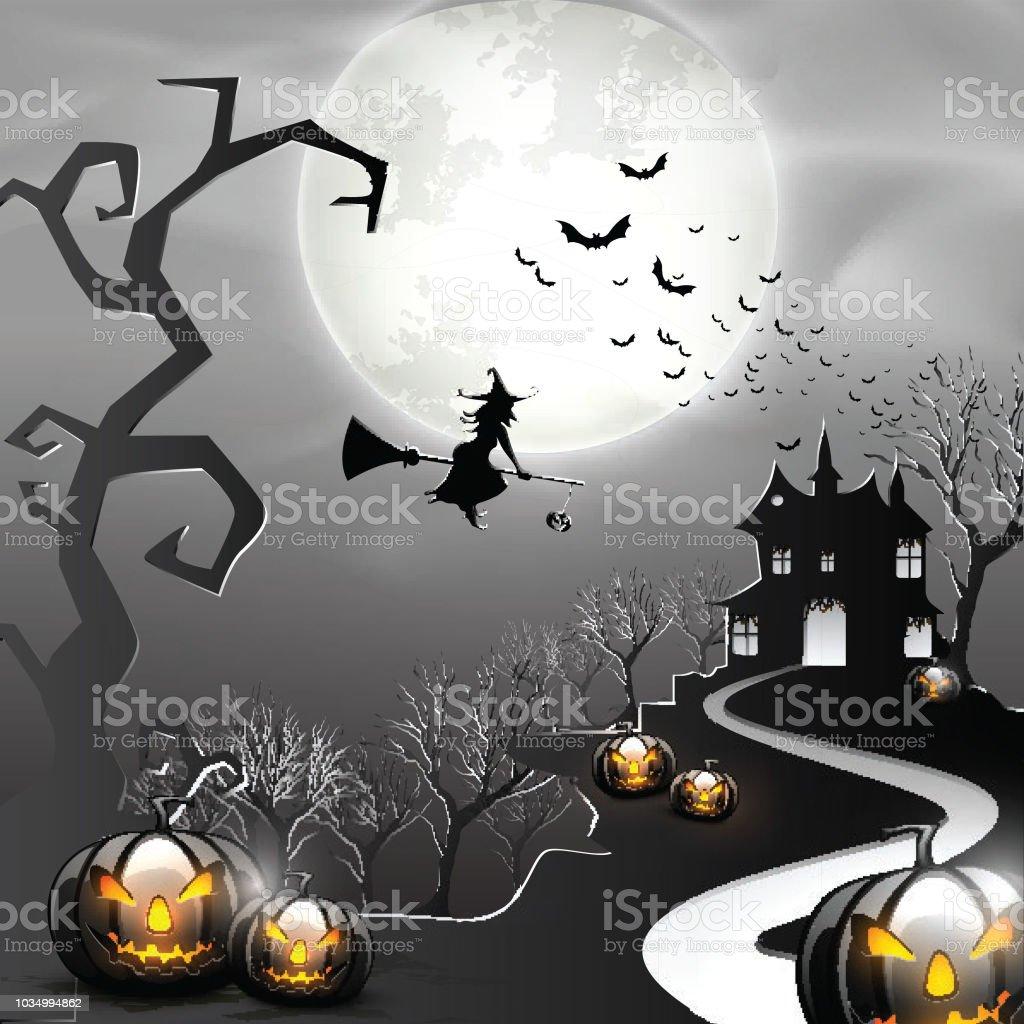 Fond De Fullmoon Halloween Sorcière Maison Hantée