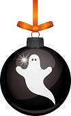 Vector illustration of a spooky white ghost on a black shiny glass hanging ornament.