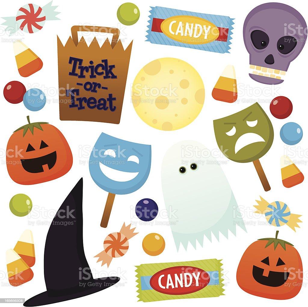 Halloween fun icons on white background vector art illustration
