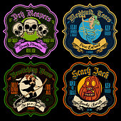 Halloween funny potion sticker-labels.