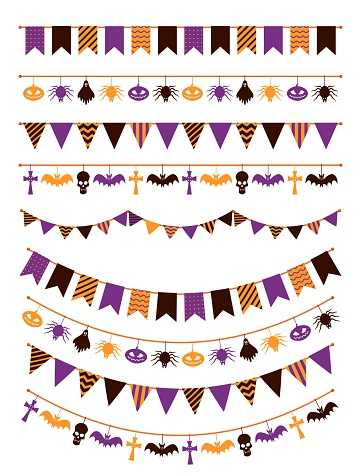 Halloween garland. Festive buntings with pumpkins, spiders and skull for greeting cards invitations, colorful flags flat vector set