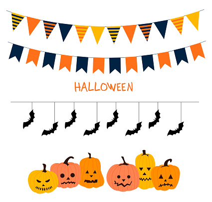 Halloween garland line. Garland of colored flags. Festive flags for decoration. Garlands of flags on a white background.Vector illustration