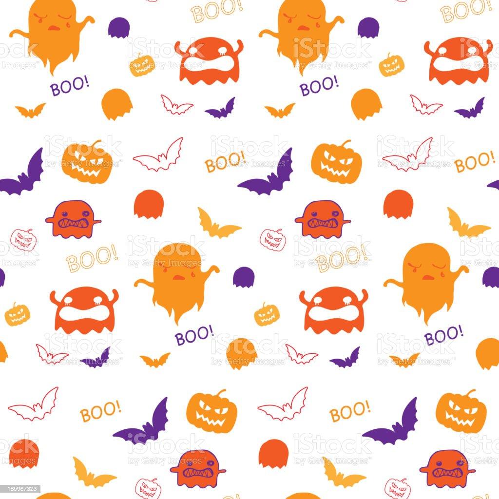 Halloween Ghost Bat Pumpkin Seamless Pattern Background Vector royalty-free halloween ghost bat pumpkin seamless pattern background vector stock vector art & more images of animal markings